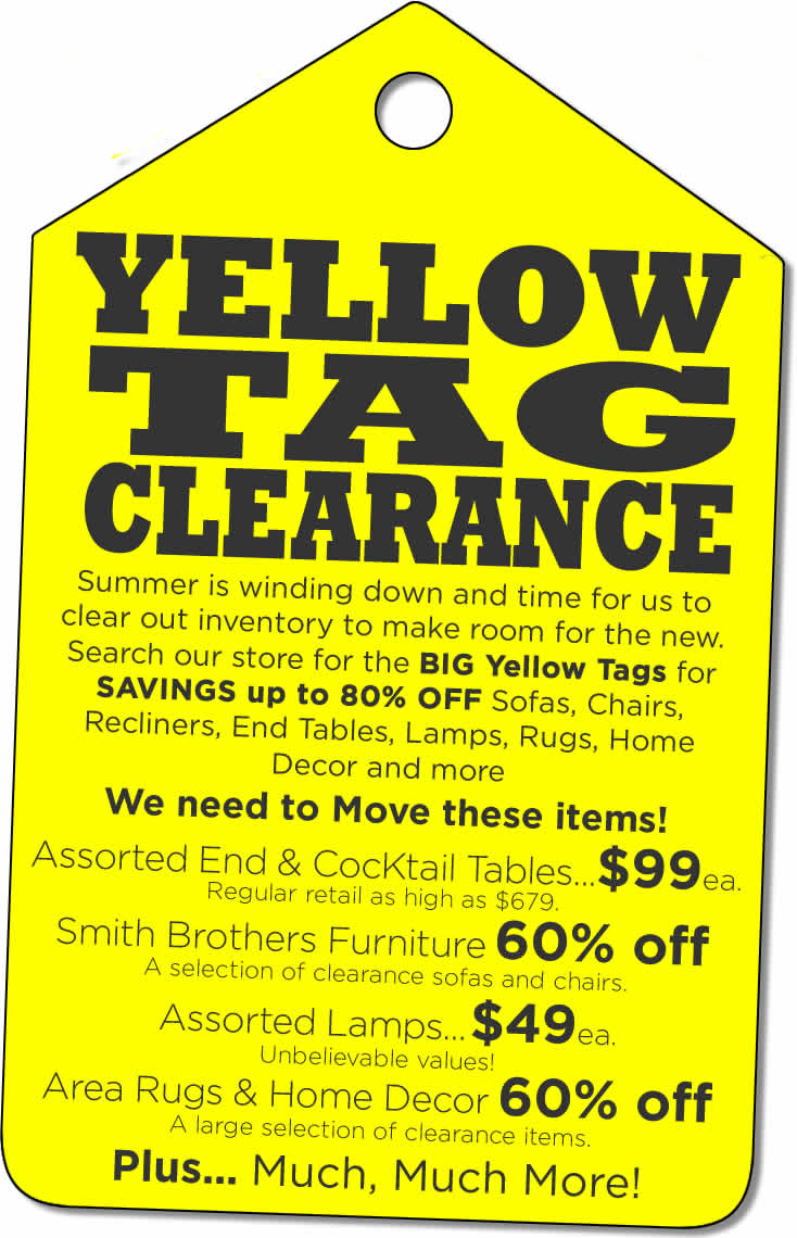 Yellow Tag Clearance Sale